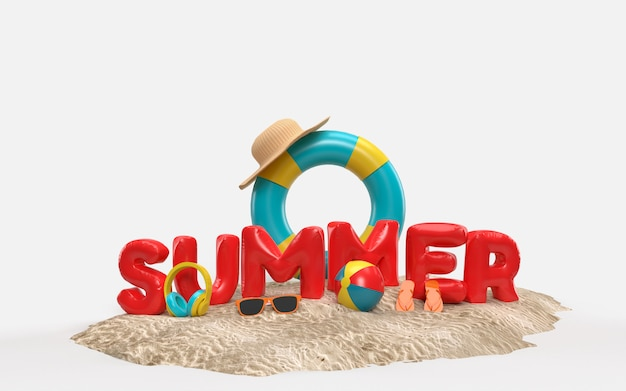 3d text summer on beach island with sun glass, flip-flops, ball, ring floating. outdoor relaxation season with copy space for. design of summer vacation holiday concept. 3d rendering