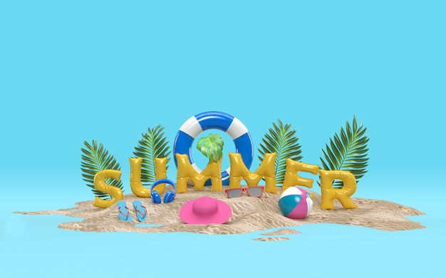 3d text summer on beach island with sun glass, flip-flops, ball, ring floating, palm leaf outdoor relaxation with copy space for background. design of summer vacation holiday concept. 3d rendering