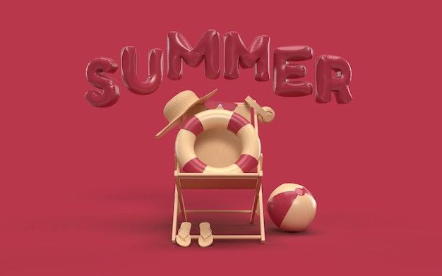 3d text summer with elements, sun glass, flip-flops, hat beach, ball, ring floating and chair for background banner or wallpaper. creative design of summer vacation holiday concept. 3d rendering