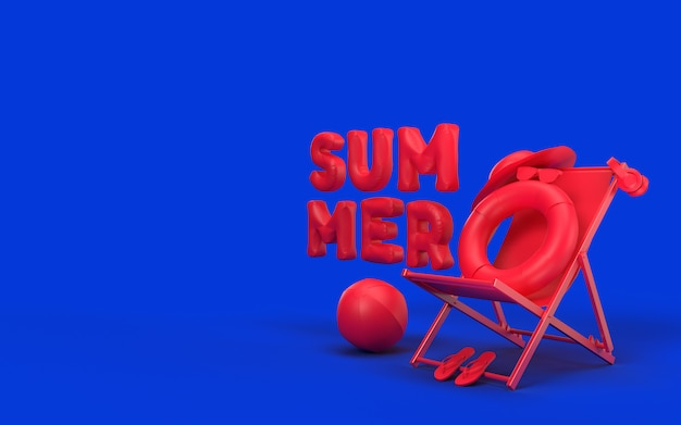 3d text summer with elements, sun glass, flip-flops, hat beach, ball, ring floating and chair . creative design of summer vacation holiday concept. 3d rendering