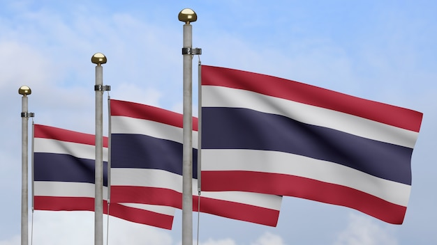 3d、青い空と雲と風に手を振るタイの旗。タイのバナーを吹く、柔らかく滑らかなシルクのクローズアップ。布生地のテクスチャは、背景をエンサインします。