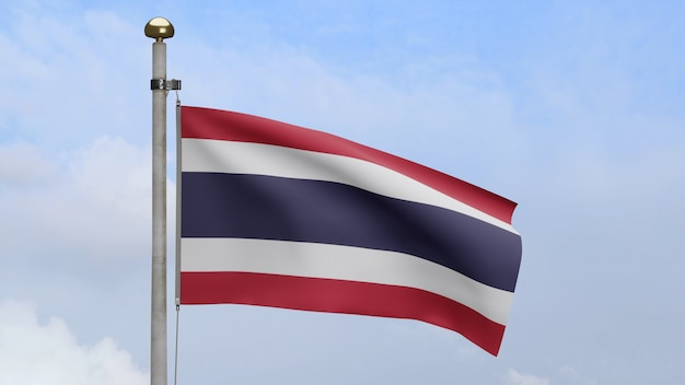 3d, thai flag waving on wind with blue sky and clouds. thailand banner blowing, soft and smooth silk. cloth fabric texture ensign background. use it for national day and country occasions concept.