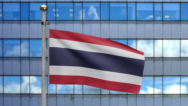 3d, thai flag waving in the wind with modern skyscraper city. close up of thailand banner blowing, soft and smooth silk. cloth fabric texture ensign background.