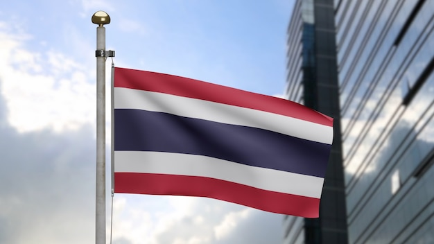 3d, thai flag waving on wind with modern skyscraper city. thailand banner blowing, soft and smooth silk. cloth fabric texture ensign background. use it for national day and country occasions concept.