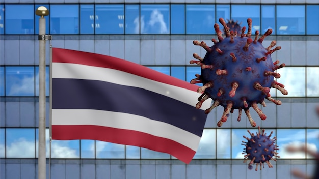3d, thai flag waving with modern skyscraper city and coronavirus outbreak as dangerous flu. influenza type covid 19 virus with national thailand banner blowing at background. pandemic risk concept