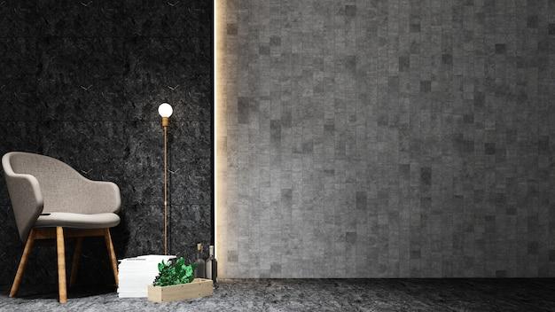 3d интерьер мебели для отдыха и материалов для отделки фона камень - пустой спа