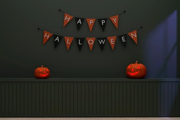 3d стены комнаты украшены флажками хеллоуин и тыквы в сумерках.