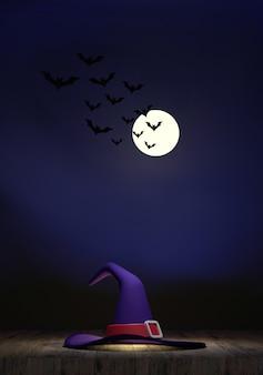 3dハロウィンフェスティバルの木の床にある魔女の帽子背景は満月です