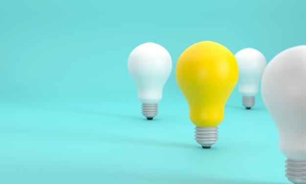 3d。白色電球よりも優れた黄色電球。被写界深度を使用して写真を撮り、創造性、思考、知性、想像力を発揮します。
