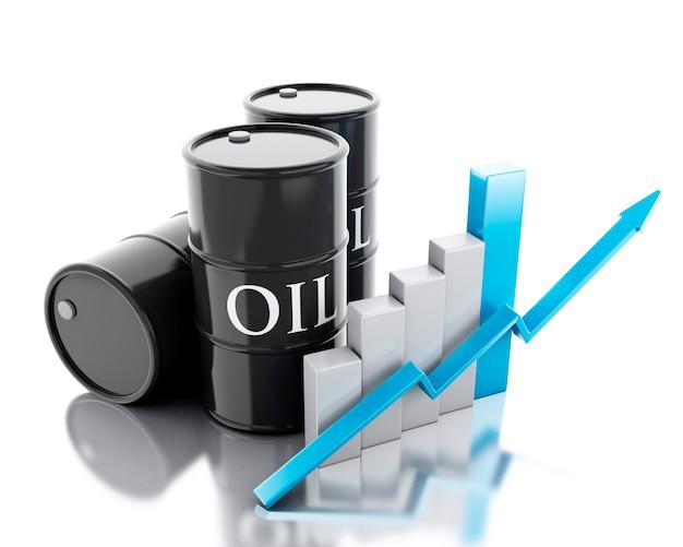 3d 석유 3 배럴입니다. 사업 개념. 프리미엄 사진
