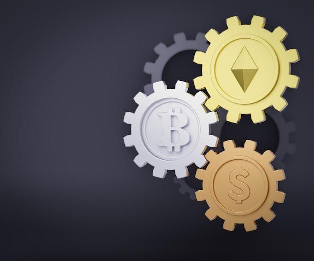 3d три золотых, серебряных и бронзовых медали с монетой ethereum bitcoin и знаком доллара на темном фоне. 3d визуализация иллюстрации.