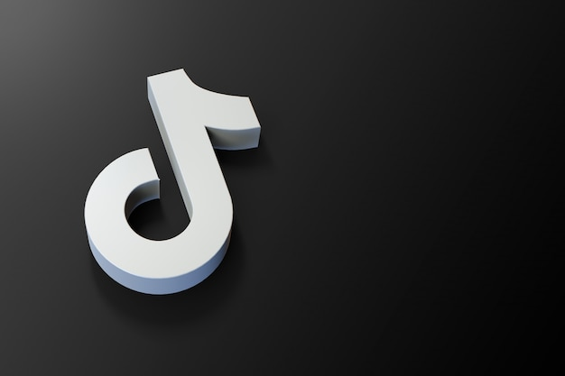 3d tiktok logo minimalist with blank space