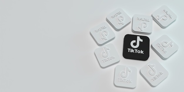3d tiktok marketing branding concept with white