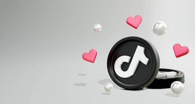 コインモデルとlovアイコンの3dtiktokソーシャルメディアロゴ