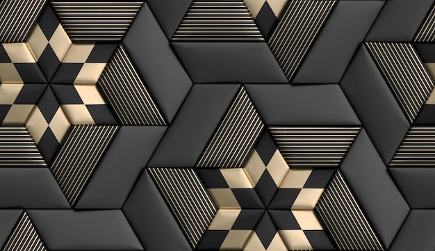 3d tiles soft geometry form made from black leather with golden decor stripes and rhombus