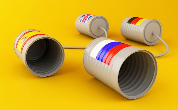 3d tin can phones with flags connected by string