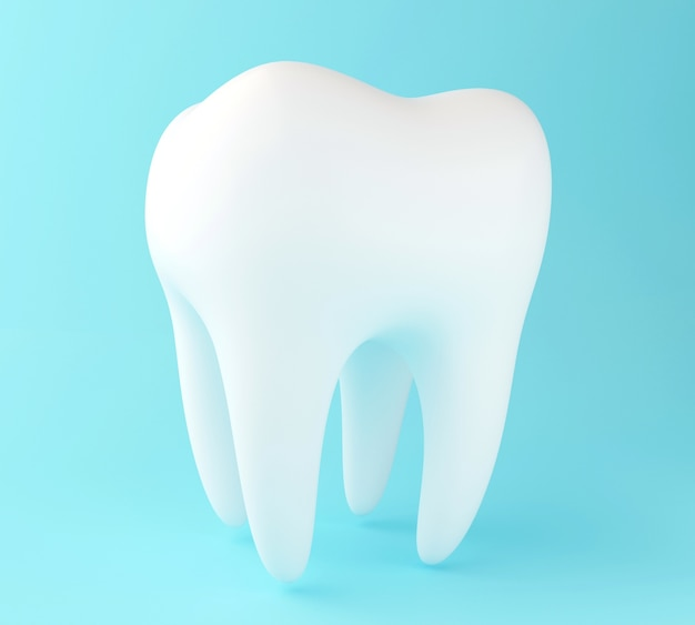 3d tooth on blue background.