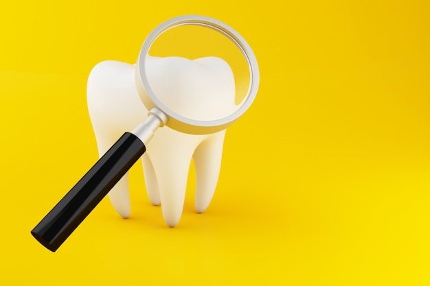 3d tooth with magnifying glass.