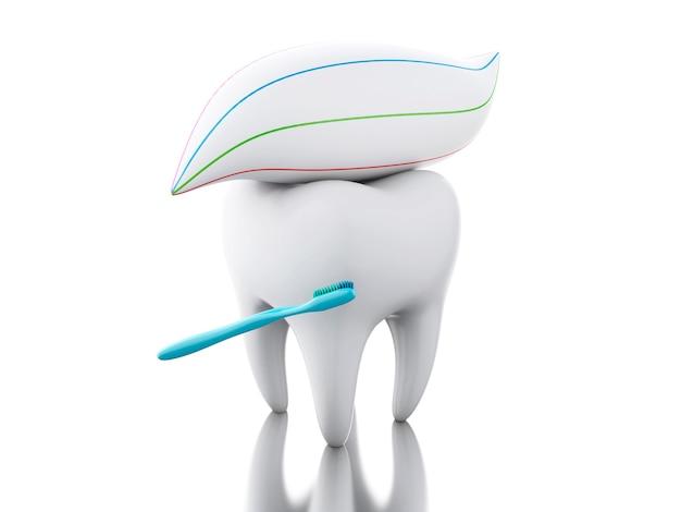 3d зуб с зубной щеткой и зубной пастой.