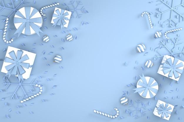 3d。上面図、クリスマスの背景としてのギフトボックスとリボン。そして明けましておめでとうございます