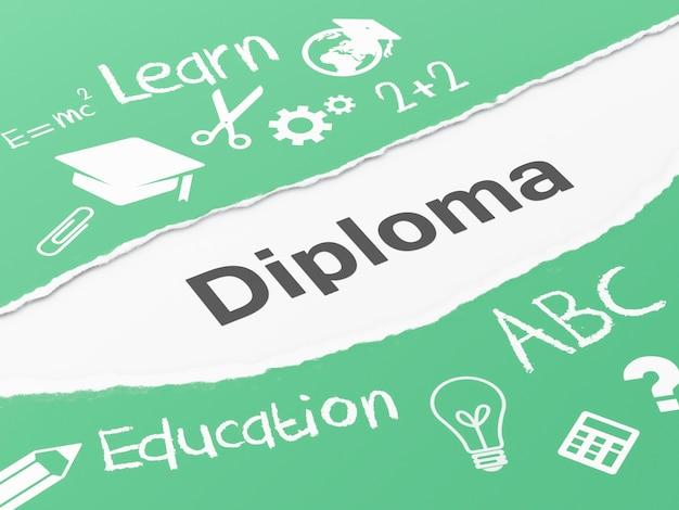 3d torn paper diploma