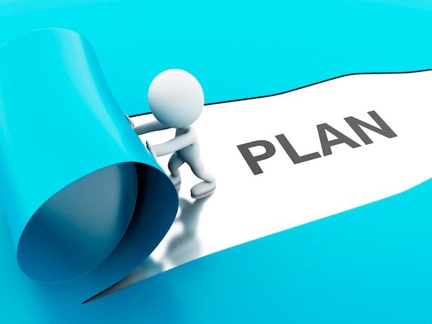 3d разорванный план бумаги