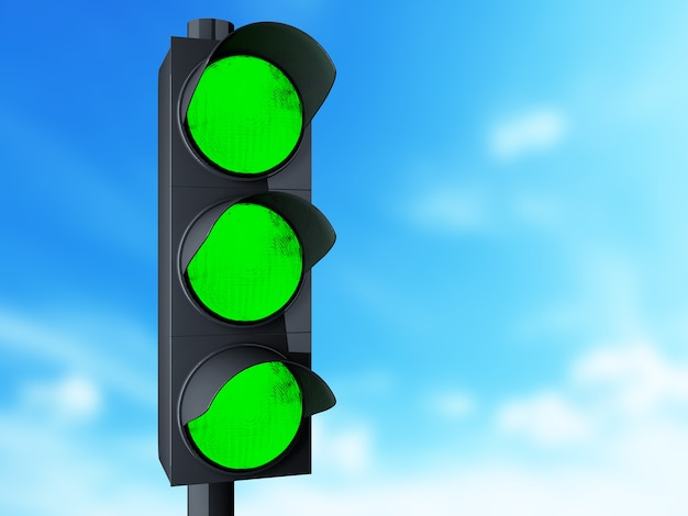 3d traffic light with green color.