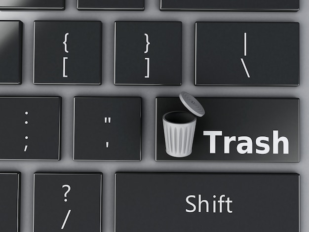 3d trash can on the computer keyboard.