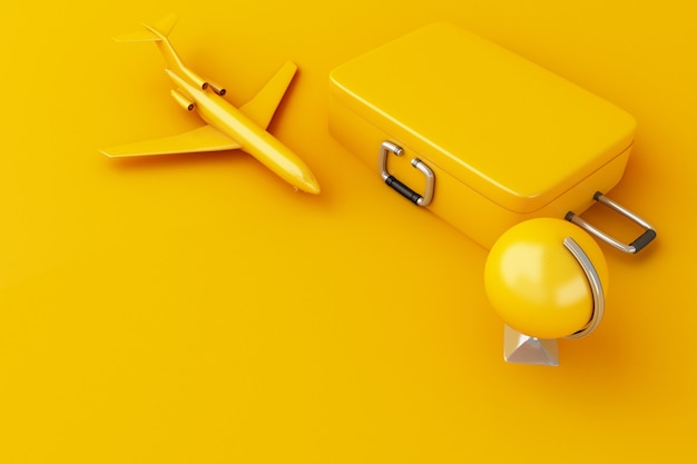 3d travel suitcase, airplane and world globe. travel concept.