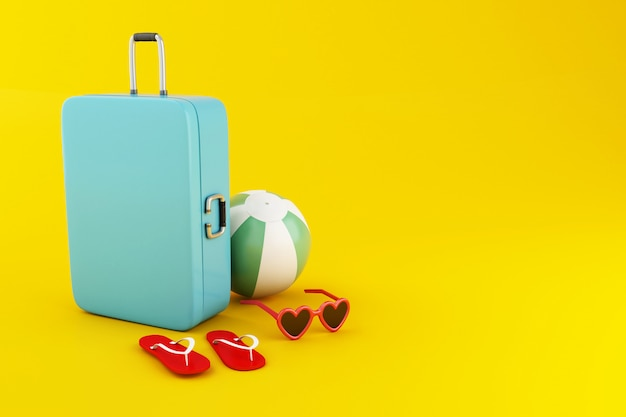 3d travel suitcase, beach ball, flip flops and sunglasses