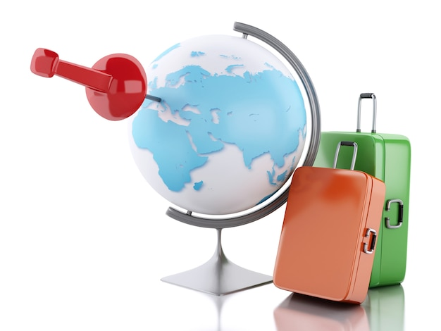 3d travel suitcase and world globe.