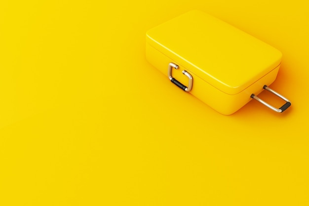 3d travel suitcase on yellow background.