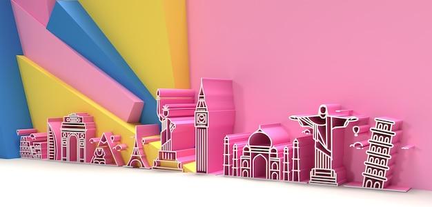 3d travel the world monument concept - 3d render flyer poster design.