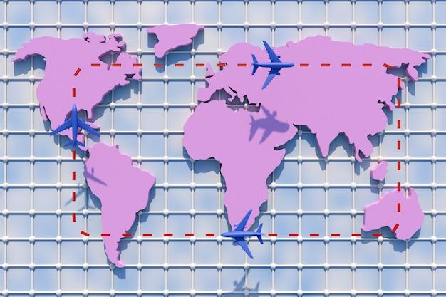 3d путешествие по миру на самолете. 3d иллюстрации. путешествие по миру на самолете. концепция мирового путешествия