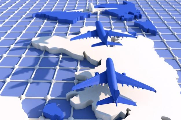 3d 비행기로 전 세계 여행. 3d 그림. 비행기로 전 세계를 여행합니다. 세계 여행 컨셉