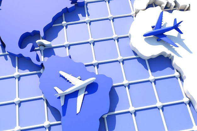 3d traveling around the world by plane. 3d illustration. traveling around the world by plane. world travel concept
