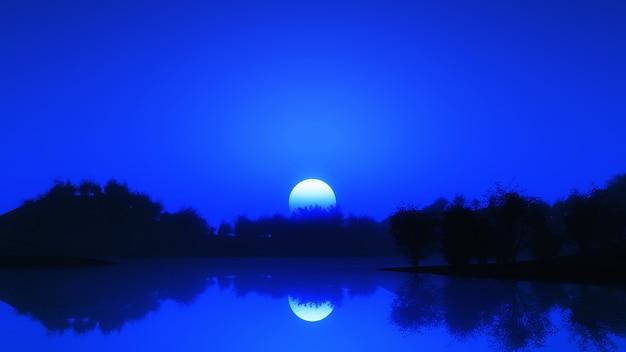 夜空に対する3d木の風景