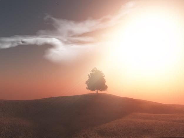 夕焼けの空を背景に3 dの木の風景