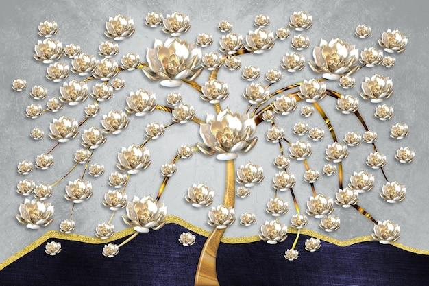 3d дерево настенные обои с золотыми цветами коричневый пень на сером фоне.