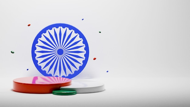 3d tricolor empty level podium with ashoka wheel and copy space on gray background.