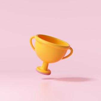 ピンクの背景に3dトロフィーカップアイコン。 3dレンダリングイラスト