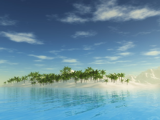 3d tropical palm tree island landscape