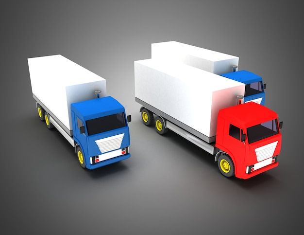3d 트럭 수송 지도자 개념입니다. 3d 그림