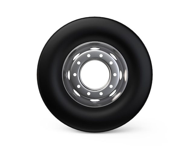 3d truck wheel on aluminum hub with black shine tire high resolution commercial service