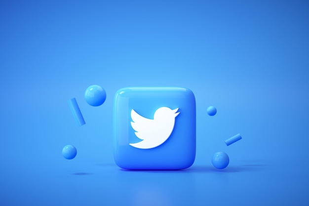 3d twitter application logo background. twitter social media platform.
