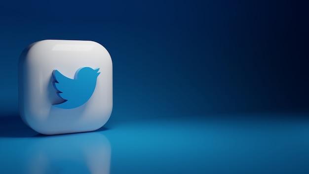 3d twitter application logo