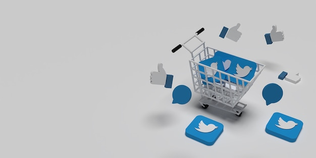 3d twitter logo on cart, flying like and coment for creative marketing concept with white background