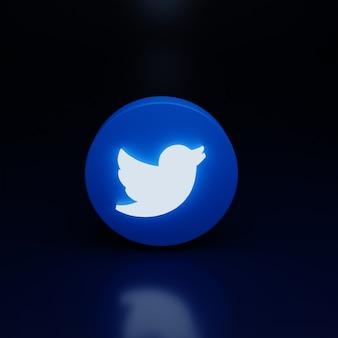3d значок логотипа twitter светится высокое качество рендеринга
