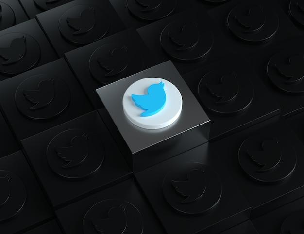 배경에 어두운 로고가 있는 은색 스탠드의 3d 트위터 로고