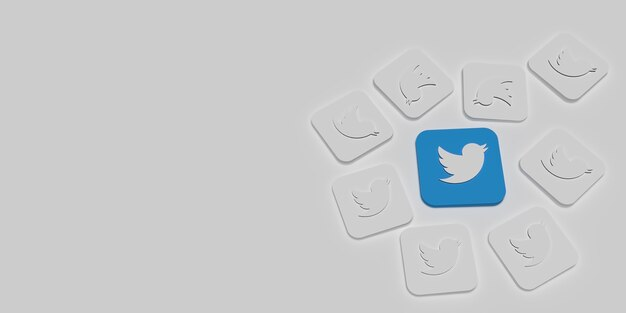 3d twitter marketing branding concept with white